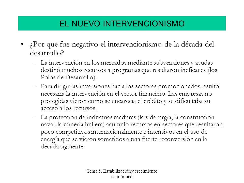 Tema 5. Estabilización y crecimiento económico ¿Por qué fue negativo el intervencionismo de la década del desarrollo? –La intervención en los mercados