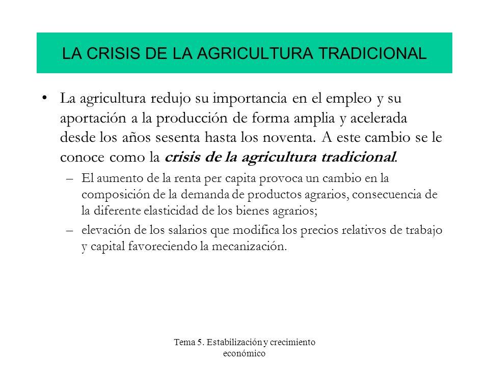 Tema 5. Estabilización y crecimiento económico LA CRISIS DE LA AGRICULTURA TRADICIONAL La agricultura redujo su importancia en el empleo y su aportaci