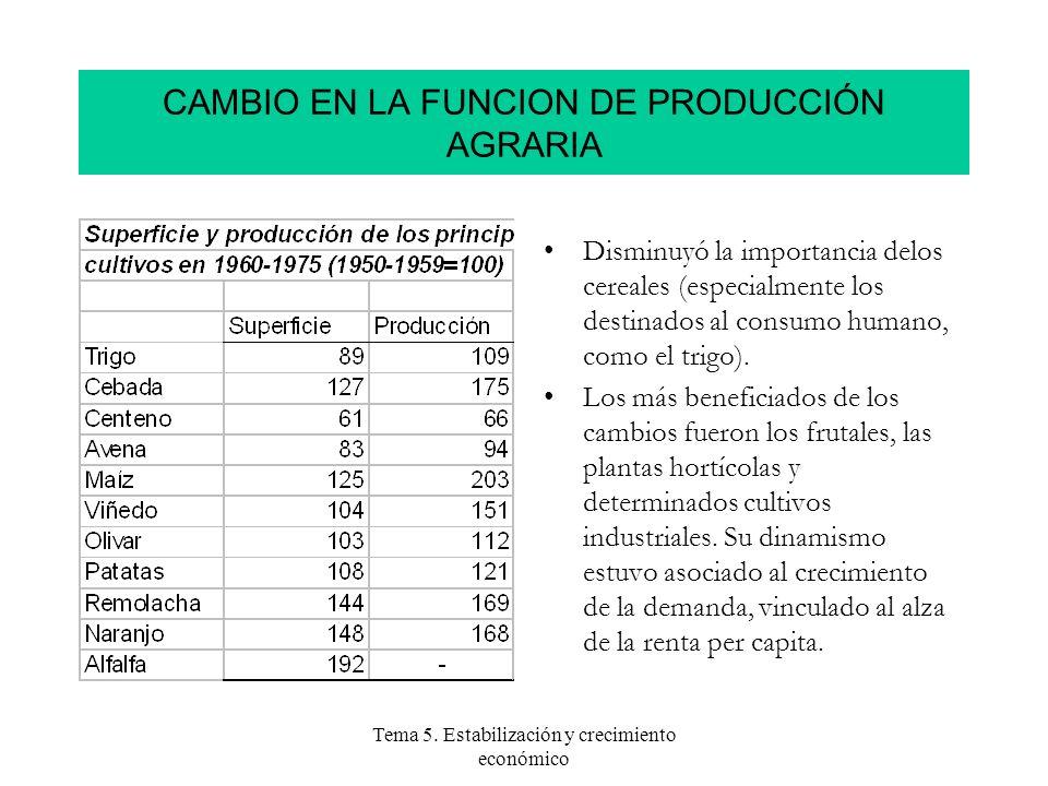 Tema 5. Estabilización y crecimiento económico Disminuyó la importancia delos cereales (especialmente los destinados al consumo humano, como el trigo)