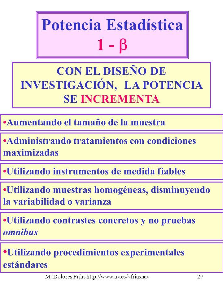 M. Dolores Frías http://www.uv.es/~friasnav27 Potencia Estadística 1 - CON EL DISEÑO DE INVESTIGACIÓN, LA POTENCIA SE INCREMENTA Aumentando el tamaño