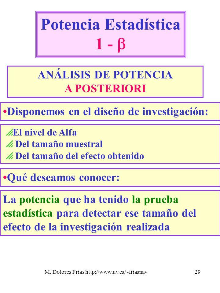 M. Dolores Frías http://www.uv.es/~friasnav29 Potencia Estadística 1 - ANÁLISIS DE POTENCIA A POSTERIORI El nivel de Alfa Del tamaño muestral Del tama