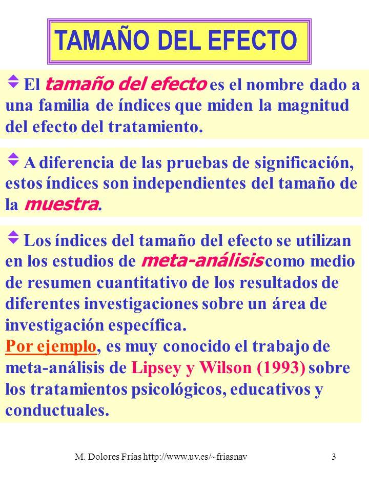 M. Dolores Frías http://www.uv.es/~friasnav3 TAMAÑO DEL EFECTO El tamaño del efecto es el nombre dado a una familia de índices que miden la magnitud d