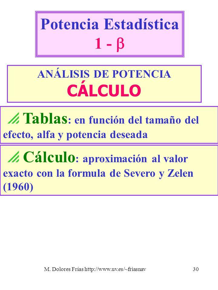 M. Dolores Frías http://www.uv.es/~friasnav30 Potencia Estadística 1 - ANÁLISIS DE POTENCIA CÁLCULO Tablas : en función del tamaño del efecto, alfa y