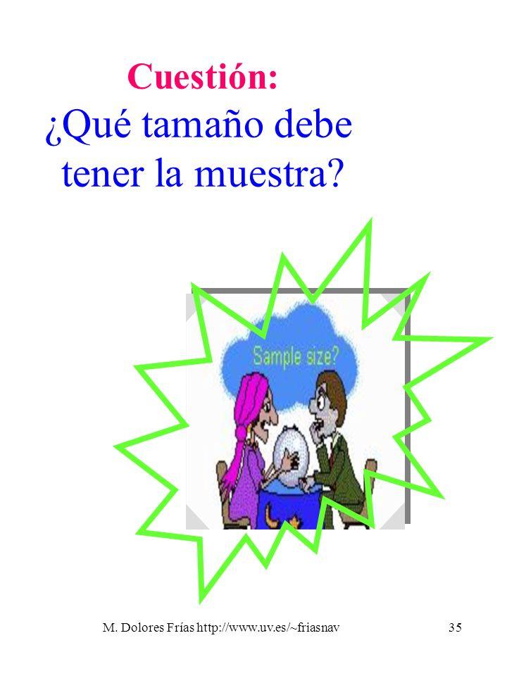 M. Dolores Frías http://www.uv.es/~friasnav35 Cuestión: ¿Qué tamaño debe tener la muestra?