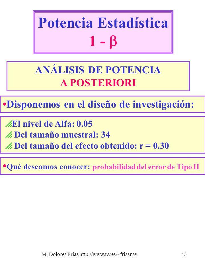 M. Dolores Frías http://www.uv.es/~friasnav43 Potencia Estadística 1 - ANÁLISIS DE POTENCIA A POSTERIORI El nivel de Alfa: 0.05 Del tamaño muestral: 3