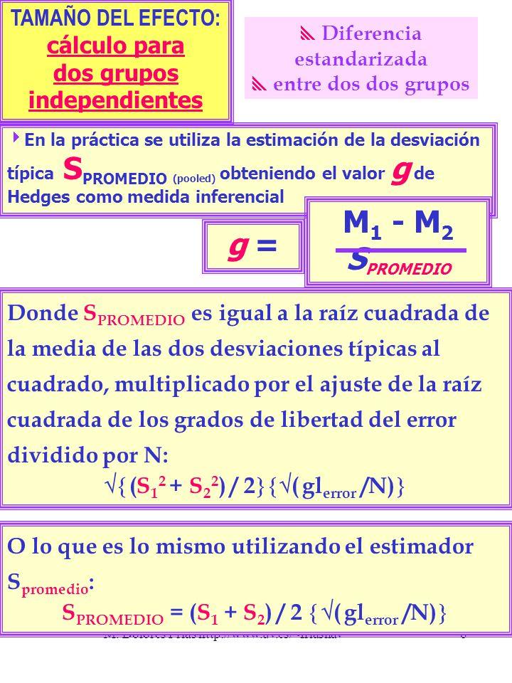 M. Dolores Frías http://www.uv.es/~friasnav8 Donde S PROMEDIO es igual a la raíz cuadrada de la media de las dos desviaciones típicas al cuadrado, mul