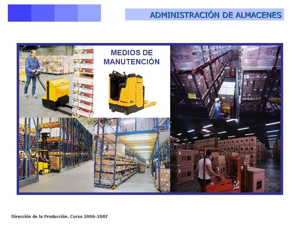 Dirección de la Producción. Curso 2006-2007 MEDIOS DE MANUTENCIÓN ADMINISTRACIÓN DE ALMACENES