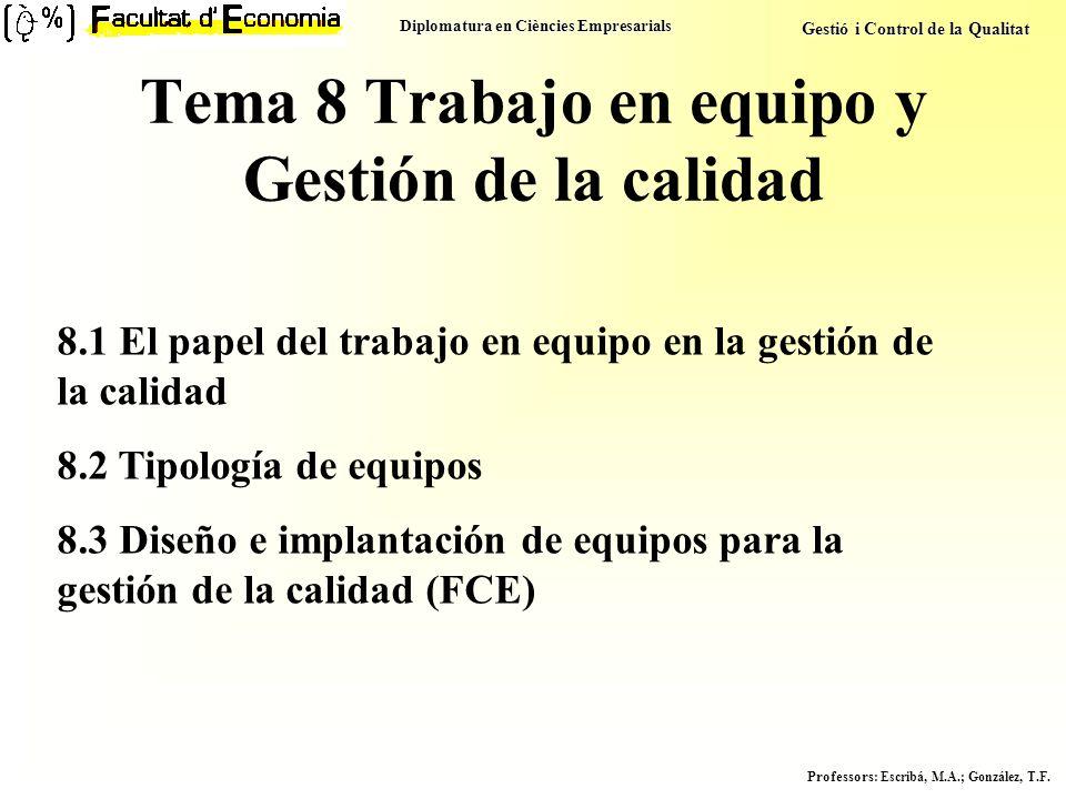 Diplomatura en Ciències Empresarials Gestió i Control de la Qualitat Professors : Escribá, M.A.; González, T.F. Tema 8 Trabajo en equipo y Gestión de