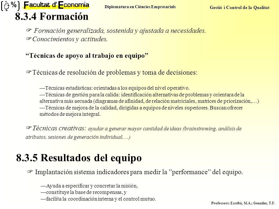 Diplomatura en Ciències Empresarials Gestió i Control de la Qualitat Professors : Escribá, M.A.; González, T.F. Formación generalizada, sostenida y aj