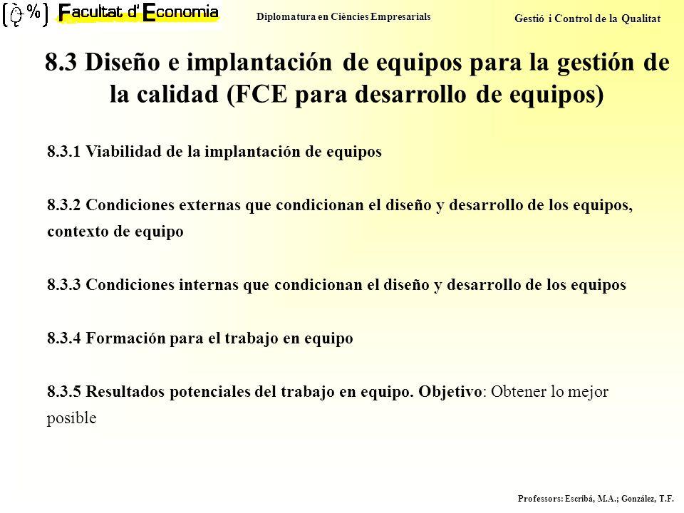 Diplomatura en Ciències Empresarials Gestió i Control de la Qualitat Professors : Escribá, M.A.; González, T.F. 8.3 Diseño e implantación de equipos p