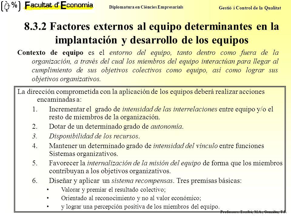 Diplomatura en Ciències Empresarials Gestió i Control de la Qualitat Professors : Escribá, M.A.; González, T.F. Contexto de equipo es el entorno del e