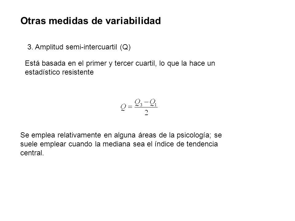 Otras medidas de variabilidad 3. Amplitud semi-intercuartil (Q) Está basada en el primer y tercer cuartil, lo que la hace un estadístico resistente Se