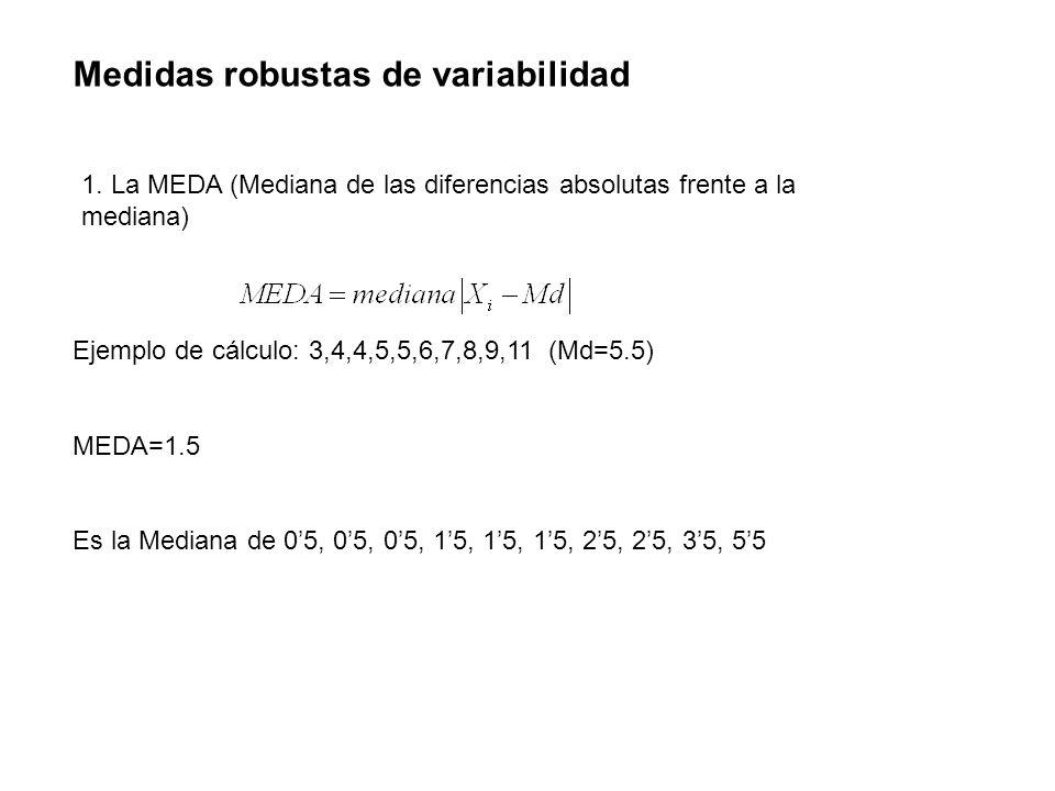 Medidas robustas de variabilidad 1. La MEDA (Mediana de las diferencias absolutas frente a la mediana) Ejemplo de cálculo: 3,4,4,5,5,6,7,8,9,11 (Md=5.
