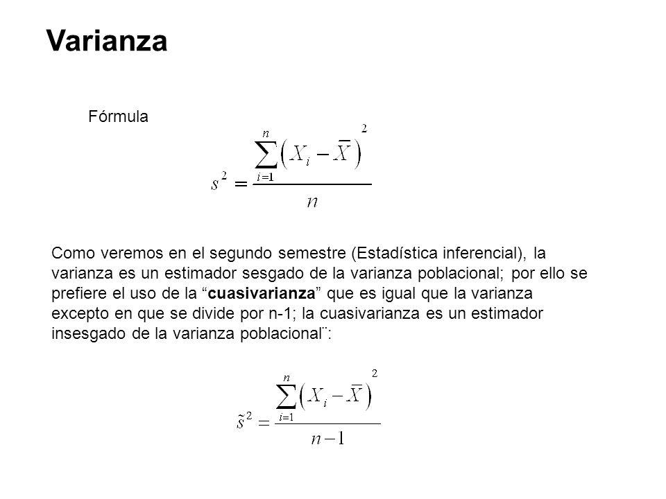 Varianza Fórmula Como veremos en el segundo semestre (Estadística inferencial), la varianza es un estimador sesgado de la varianza poblacional; por el