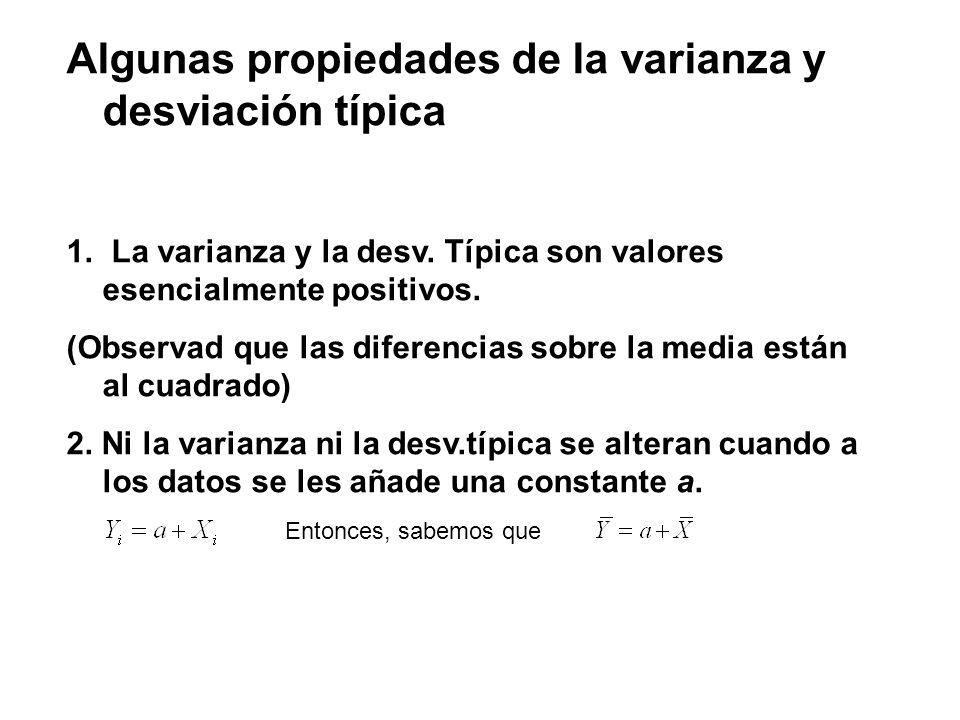 Algunas propiedades de la varianza y desviación típica 1. La varianza y la desv. Típica son valores esencialmente positivos. (Observad que las diferen