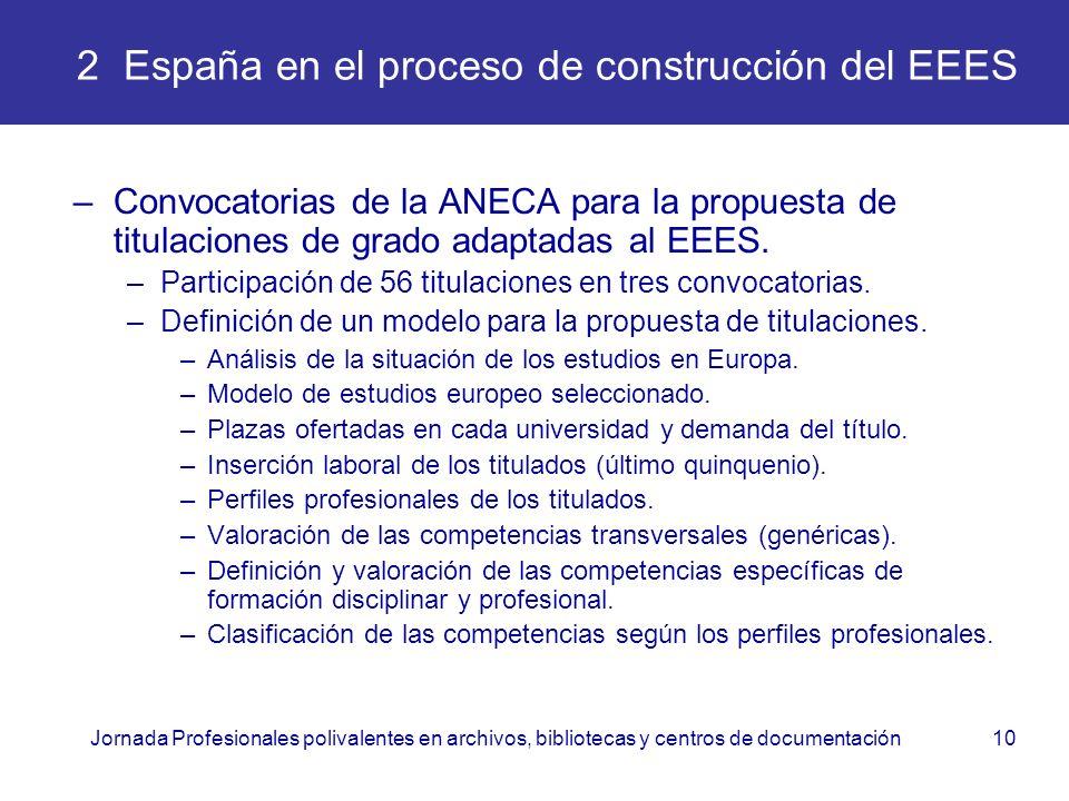 Jornada Profesionales polivalentes en archivos, bibliotecas y centros de documentación10 2 España en el proceso de construcción del EEES –Convocatoria