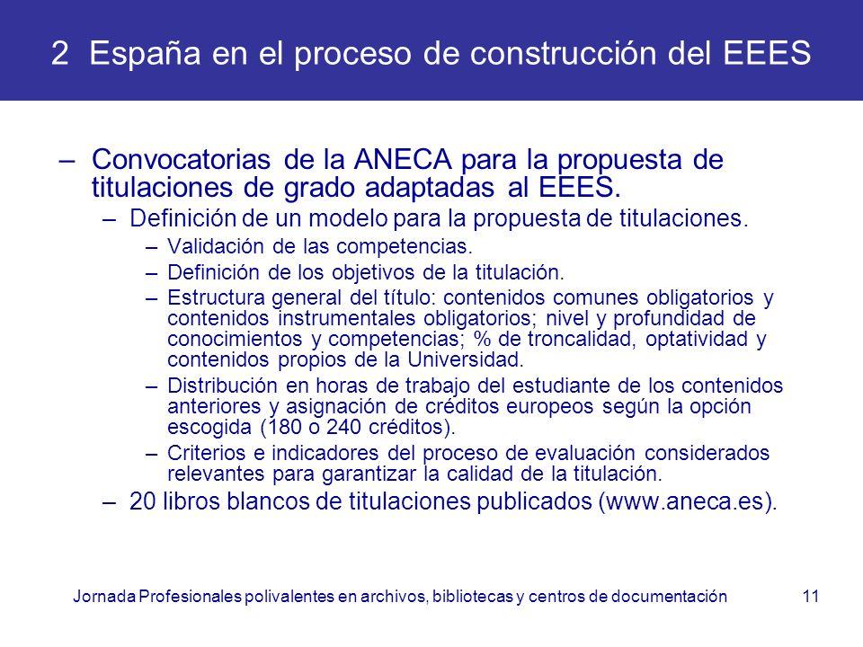 Jornada Profesionales polivalentes en archivos, bibliotecas y centros de documentación11 2 España en el proceso de construcción del EEES –Convocatoria