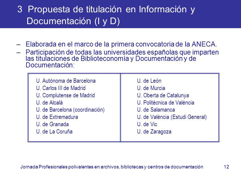 Jornada Profesionales polivalentes en archivos, bibliotecas y centros de documentación12 3 Propuesta de titulación en Información y Documentación (I y