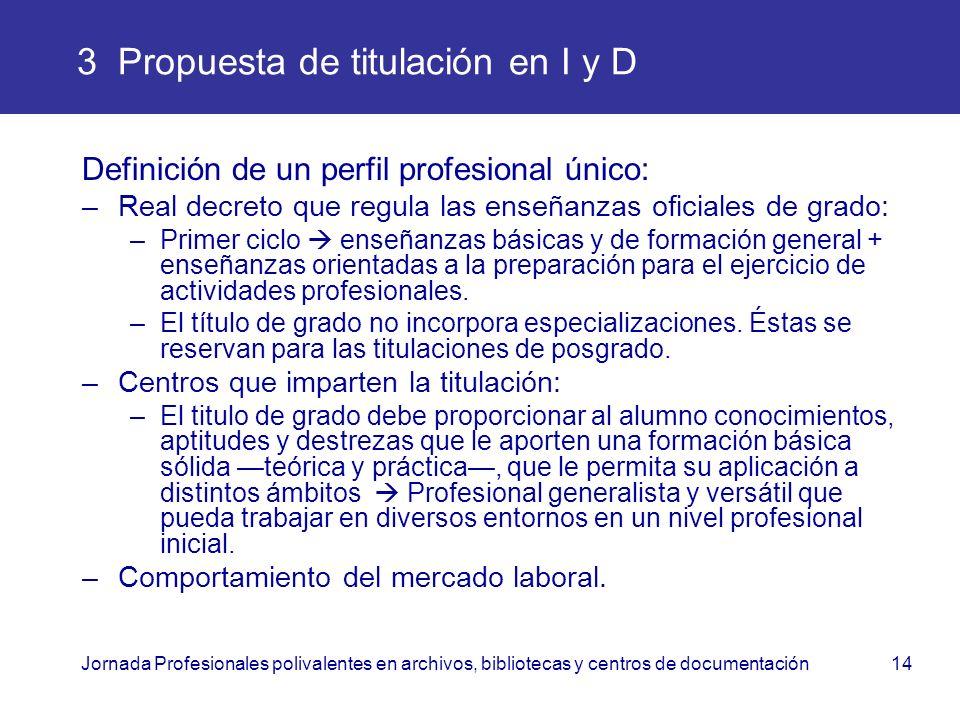 Jornada Profesionales polivalentes en archivos, bibliotecas y centros de documentación14 3 Propuesta de titulación en I y D Definición de un perfil pr