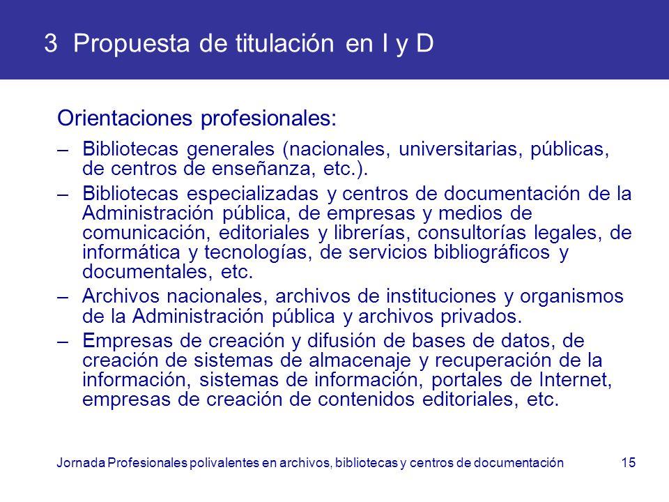 Jornada Profesionales polivalentes en archivos, bibliotecas y centros de documentación15 3 Propuesta de titulación en I y D Orientaciones profesionale