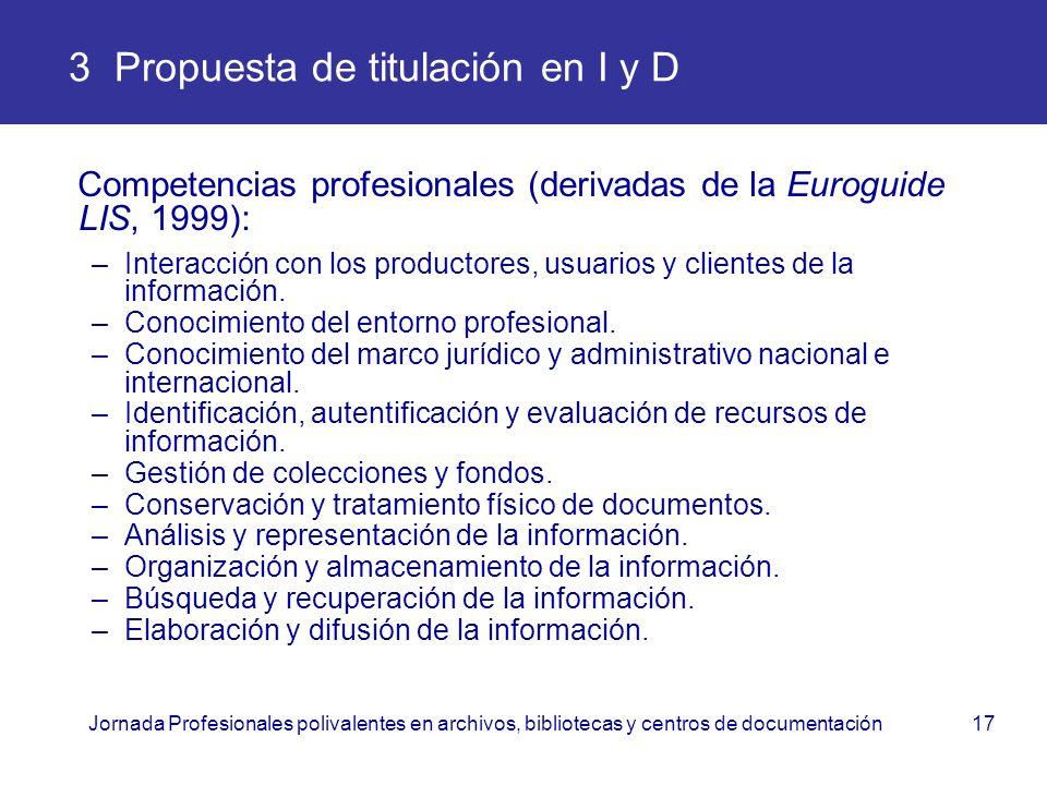 Jornada Profesionales polivalentes en archivos, bibliotecas y centros de documentación17 3 Propuesta de titulación en I y D Competencias profesionales