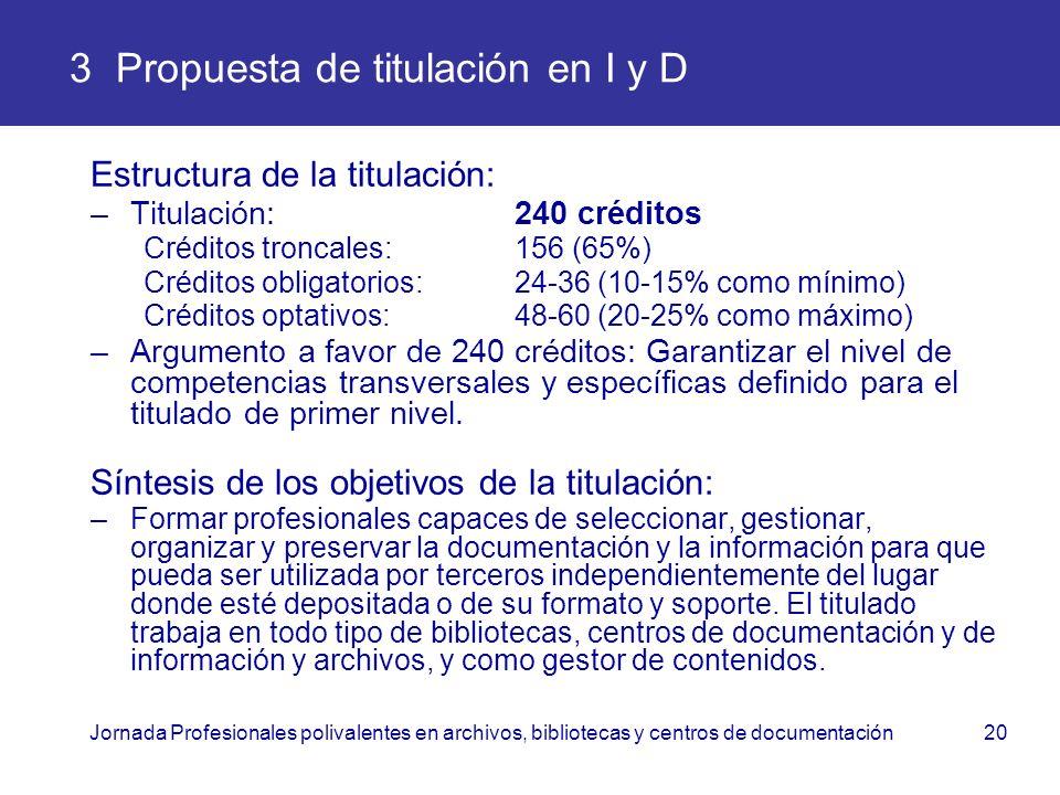 Jornada Profesionales polivalentes en archivos, bibliotecas y centros de documentación20 3 Propuesta de titulación en I y D Estructura de la titulació