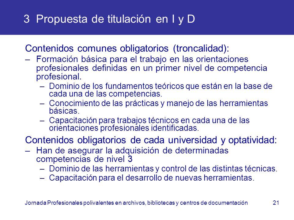 Jornada Profesionales polivalentes en archivos, bibliotecas y centros de documentación21 3 Propuesta de titulación en I y D Contenidos comunes obligat