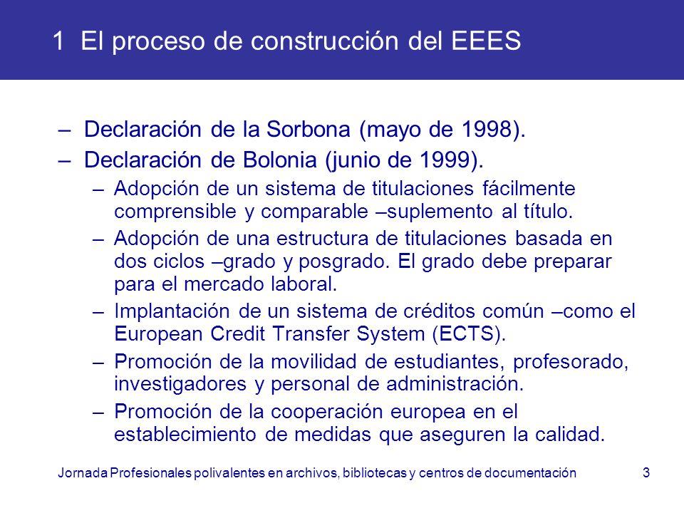 Jornada Profesionales polivalentes en archivos, bibliotecas y centros de documentación3 1 El proceso de construcción del EEES –Declaración de la Sorbo