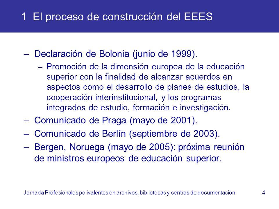 Jornada Profesionales polivalentes en archivos, bibliotecas y centros de documentación4 1 El proceso de construcción del EEES –Declaración de Bolonia
