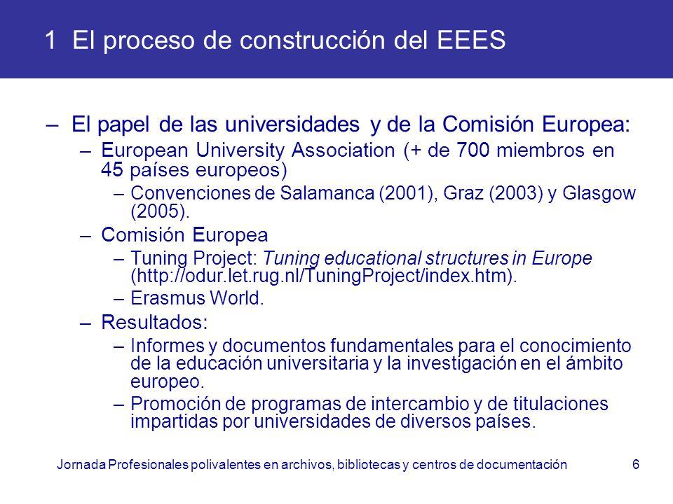Jornada Profesionales polivalentes en archivos, bibliotecas y centros de documentación6 1 El proceso de construcción del EEES –El papel de las univers