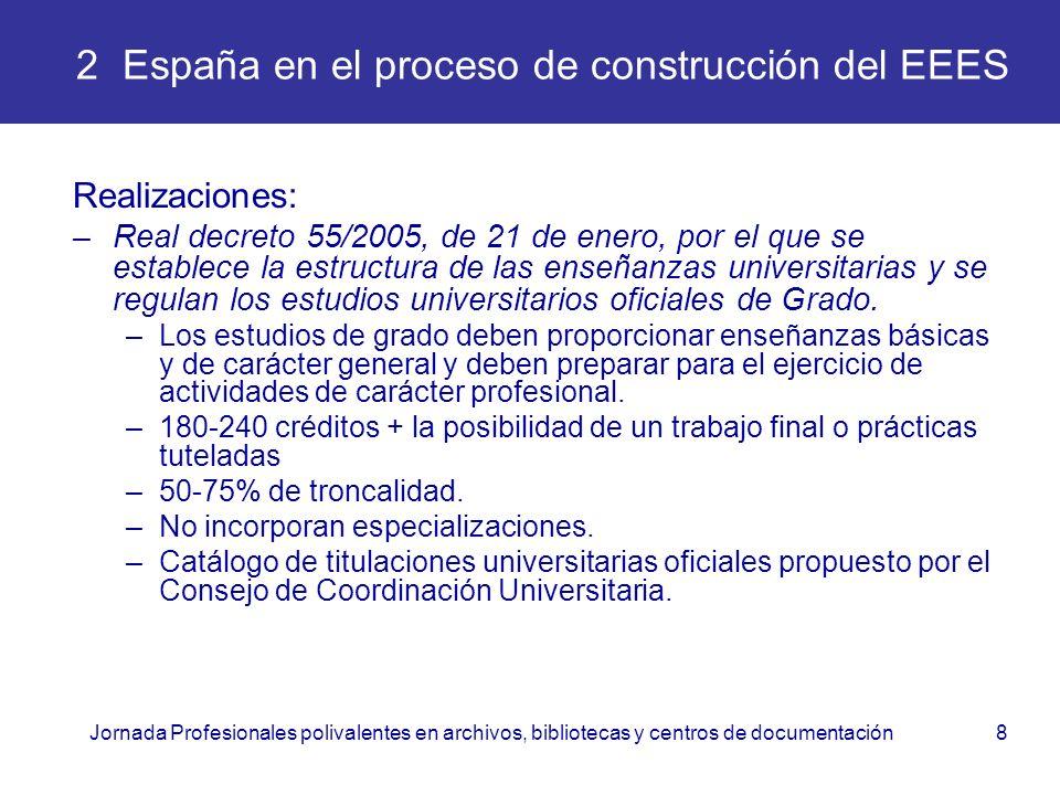 Jornada Profesionales polivalentes en archivos, bibliotecas y centros de documentación8 2 España en el proceso de construcción del EEES Realizaciones: