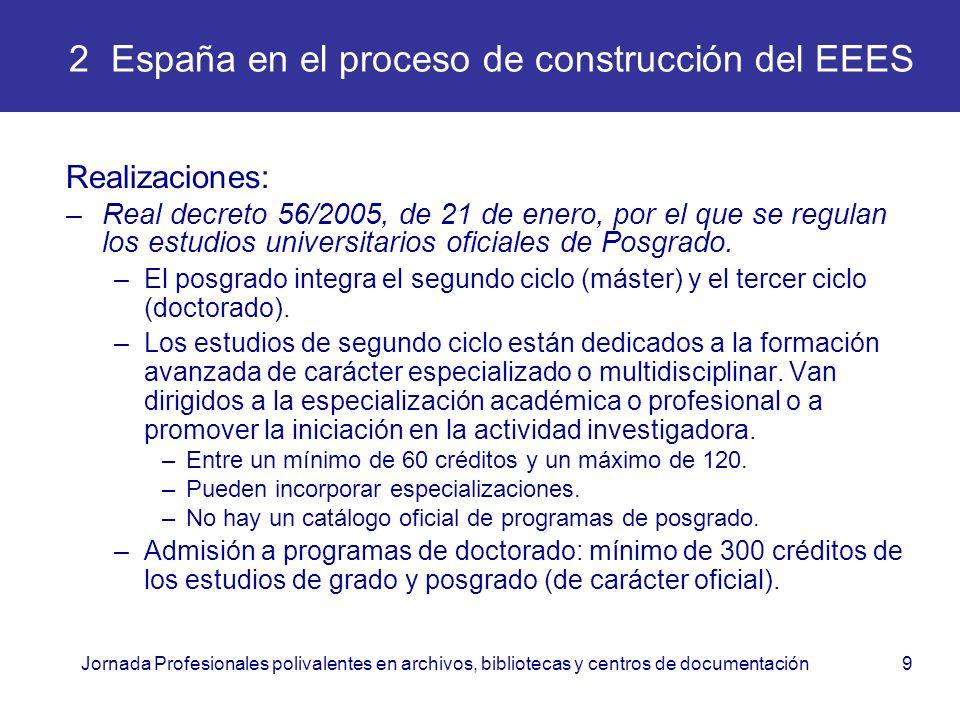 Jornada Profesionales polivalentes en archivos, bibliotecas y centros de documentación9 2 España en el proceso de construcción del EEES Realizaciones: