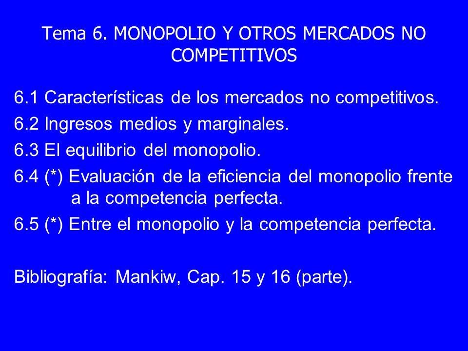 Tema 6. MONOPOLIO Y OTROS MERCADOS NO COMPETITIVOS 6.1 Características de los mercados no competitivos. 6.2 Ingresos medios y marginales. 6.3 El equil
