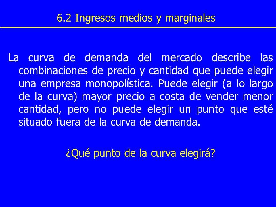 6.2 Ingresos medios y marginales La curva de demanda del mercado describe las combinaciones de precio y cantidad que puede elegir una empresa monopolí