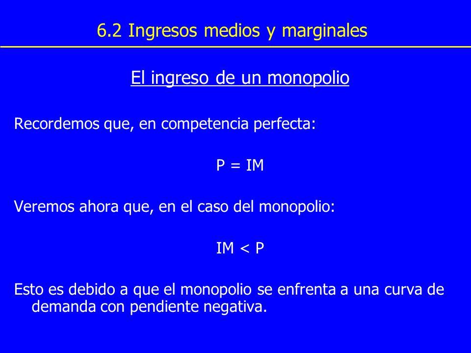 6.2 Ingresos medios y marginales El ingreso de un monopolio Recordemos que, en competencia perfecta: P = IM Veremos ahora que, en el caso del monopoli