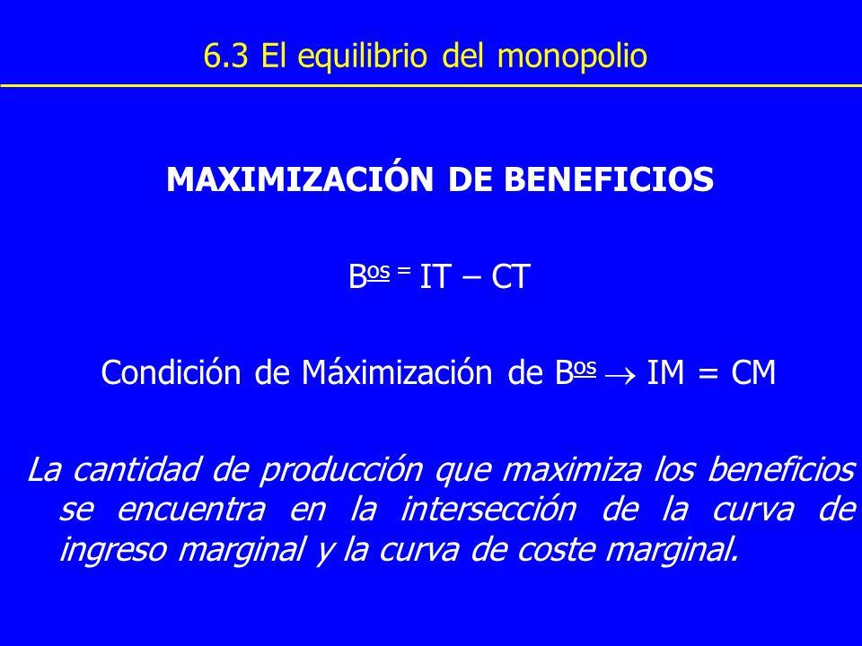 MAXIMIZACIÓN DE BENEFICIOS B os = IT – CT Condición de Máximización de B os IM = CM La cantidad de producción que maximiza los beneficios se encuentra