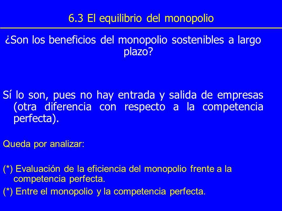 6.3 El equilibrio del monopolio ¿Son los beneficios del monopolio sostenibles a largo plazo? Sí lo son, pues no hay entrada y salida de empresas (otra