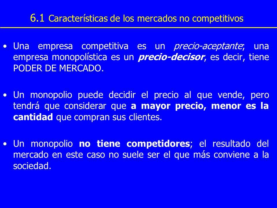 Una empresa competitiva es un precio-aceptante; una empresa monopolística es un precio-decisor, es decir, tiene PODER DE MERCADO. Un monopolio puede d