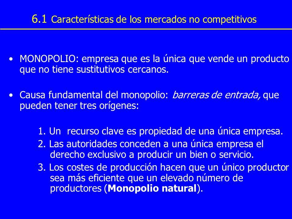 6.1 Características de los mercados no competitivos MONOPOLIO: empresa que es la única que vende un producto que no tiene sustitutivos cercanos. Causa