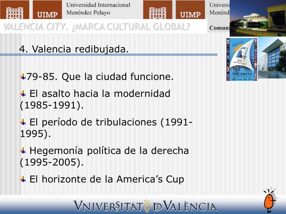 VALENCIA CITY. ¿MARCA CULTURAL GLOBAL? 4. Valencia redibujada. 79-85. Que la ciudad funcione. El asalto hacia la modernidad (1985-1991). El período de