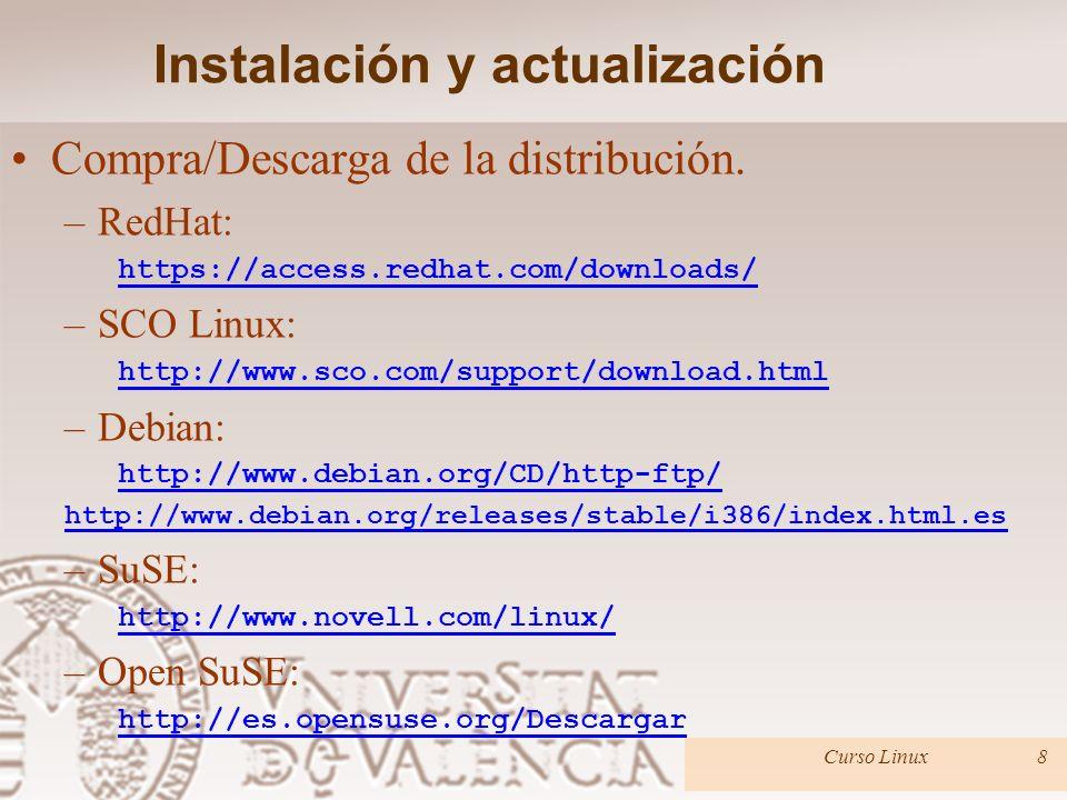 Instalación y actualización –¿Probar la distribución? Fedora: http://fedoraproject.org/es/get-fedora Ubuntu: http://www.ubuntu.com/desktop/get-ubuntu/