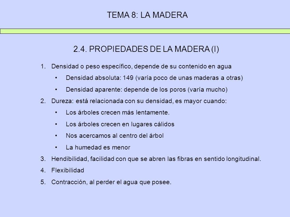 TEMA 8: LA MADERA 2.4. PROPIEDADES DE LA MADERA (I) 1.Densidad o peso específico, depende de su contenido en agua Densidad absoluta: 149 (varía poco d