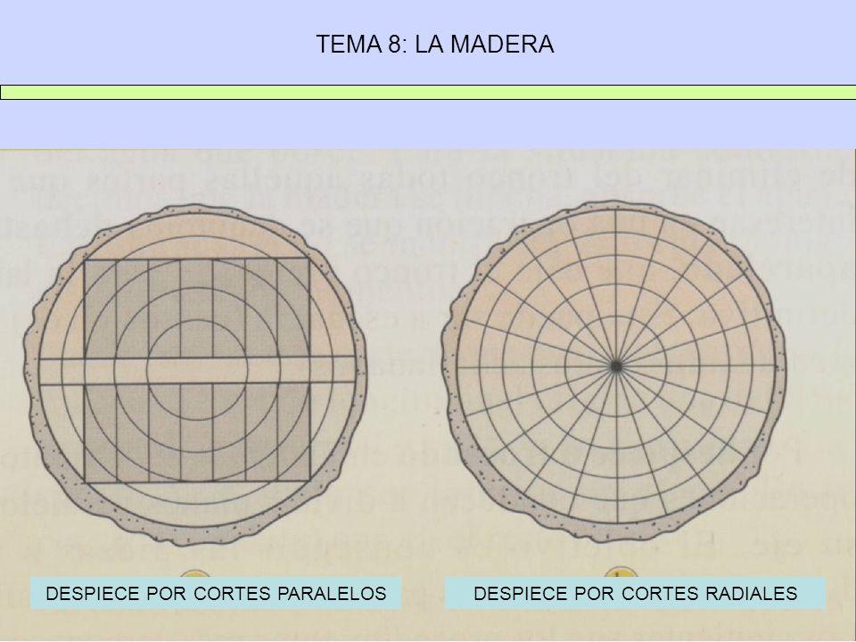 TEMA 8: LA MADERA DESPIECE POR CORTES PARALELOSDESPIECE POR CORTES RADIALES
