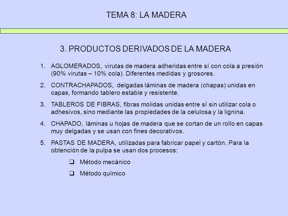 TEMA 8: LA MADERA 3. PRODUCTOS DERIVADOS DE LA MADERA 1.AGLOMERADOS, virutas de madera adheridas entre sí con cola a presión (90% virutas – 10% cola).