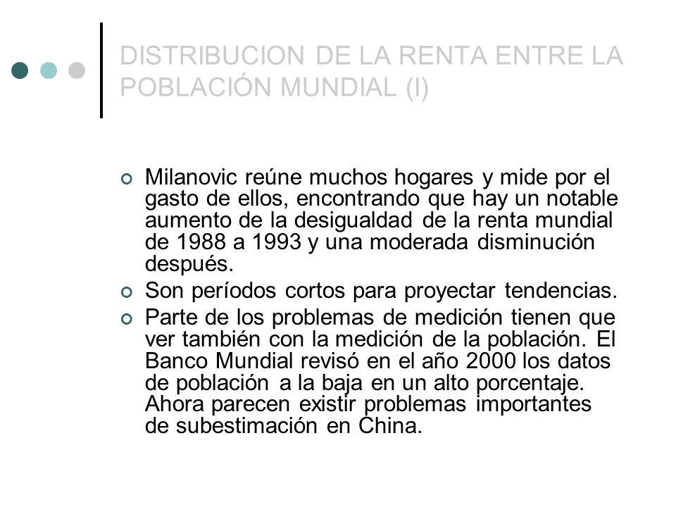 DISTRIBUCION DE LA RENTA ENTRE LA POBLACIÓN MUNDIAL (I) Milanovic reúne muchos hogares y mide por el gasto de ellos, encontrando que hay un notable aumento de la desigualdad de la renta mundial de 1988 a 1993 y una moderada disminución después.