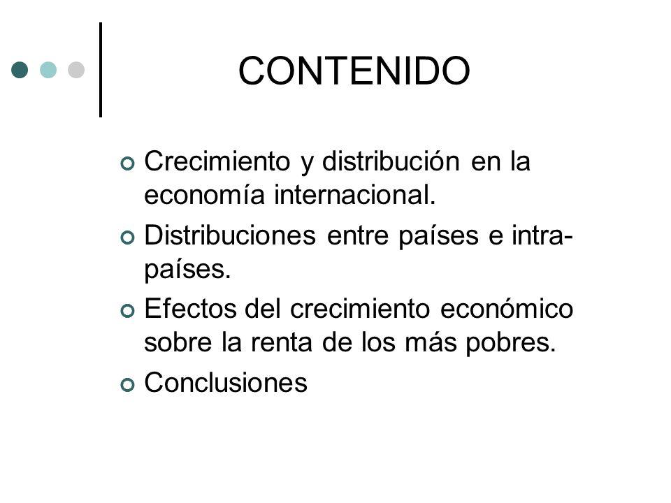 DISTRIBUCIÓN DE LA RENTA ENTRE LA POBLACIÓN MUNDIAL (II) En definitiva, la mejora de la distribución entre países parece compensar el empeoramiento de la distribución en el interior de algunos.