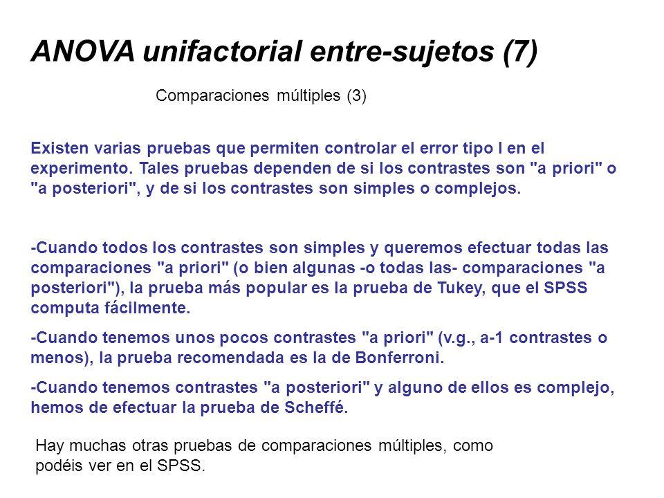 ANOVA unifactorial entre-sujetos (7) Existen varias pruebas que permiten controlar el error tipo I en el experimento. Tales pruebas dependen de si los
