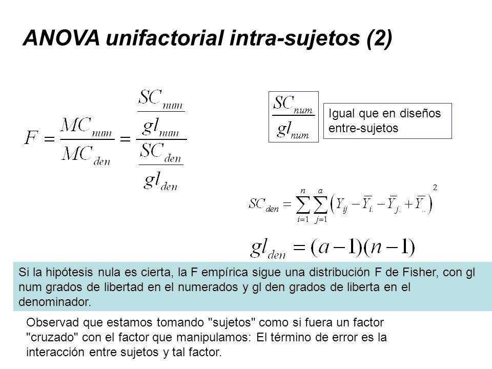 ANOVA unifactorial intra-sujetos (2) Igual que en diseños entre-sujetos Observad que estamos tomando