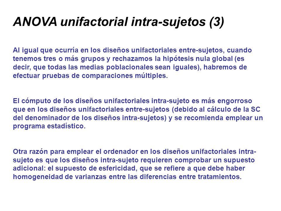 ANOVA unifactorial intra-sujetos (3) Al igual que ocurría en los diseños unifactoriales entre-sujetos, cuando tenemos tres o más grupos y rechazamos l