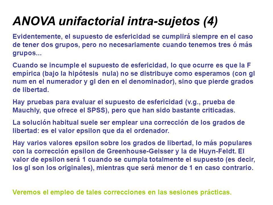 ANOVA unifactorial intra-sujetos (4) Evidentemente, el supuesto de esfericidad se cumplirá siempre en el caso de tener dos grupos, pero no necesariame